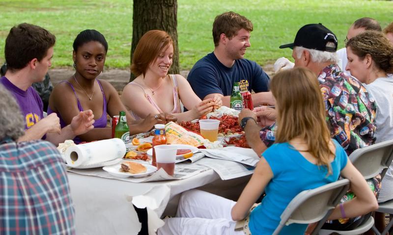 Students eating crawfish