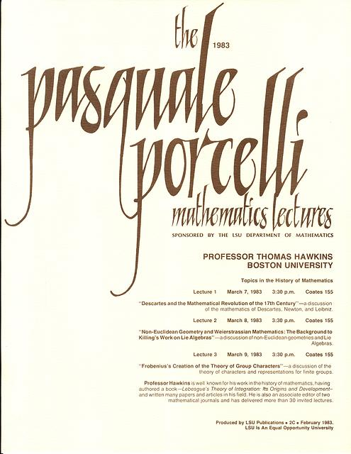 Porcelli Lecture Invitation: Thomas Hawkins 1983