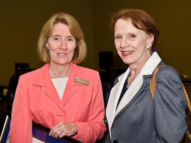 Phoebe Rouse with Vice Chancellor and Provost Astrid Merget