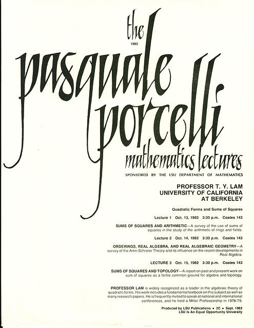 Porcelli Lecture Invitation: T. Y. Lam 1982