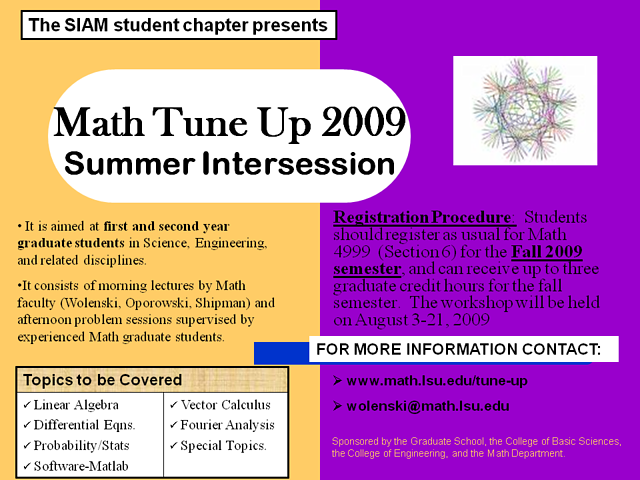 Math Tune-up 2009 poster