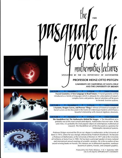 Porcelli Lecture Invitation: Heinz-Otto Peitgen 1989