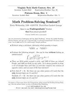Math Problem-Solving Seminar