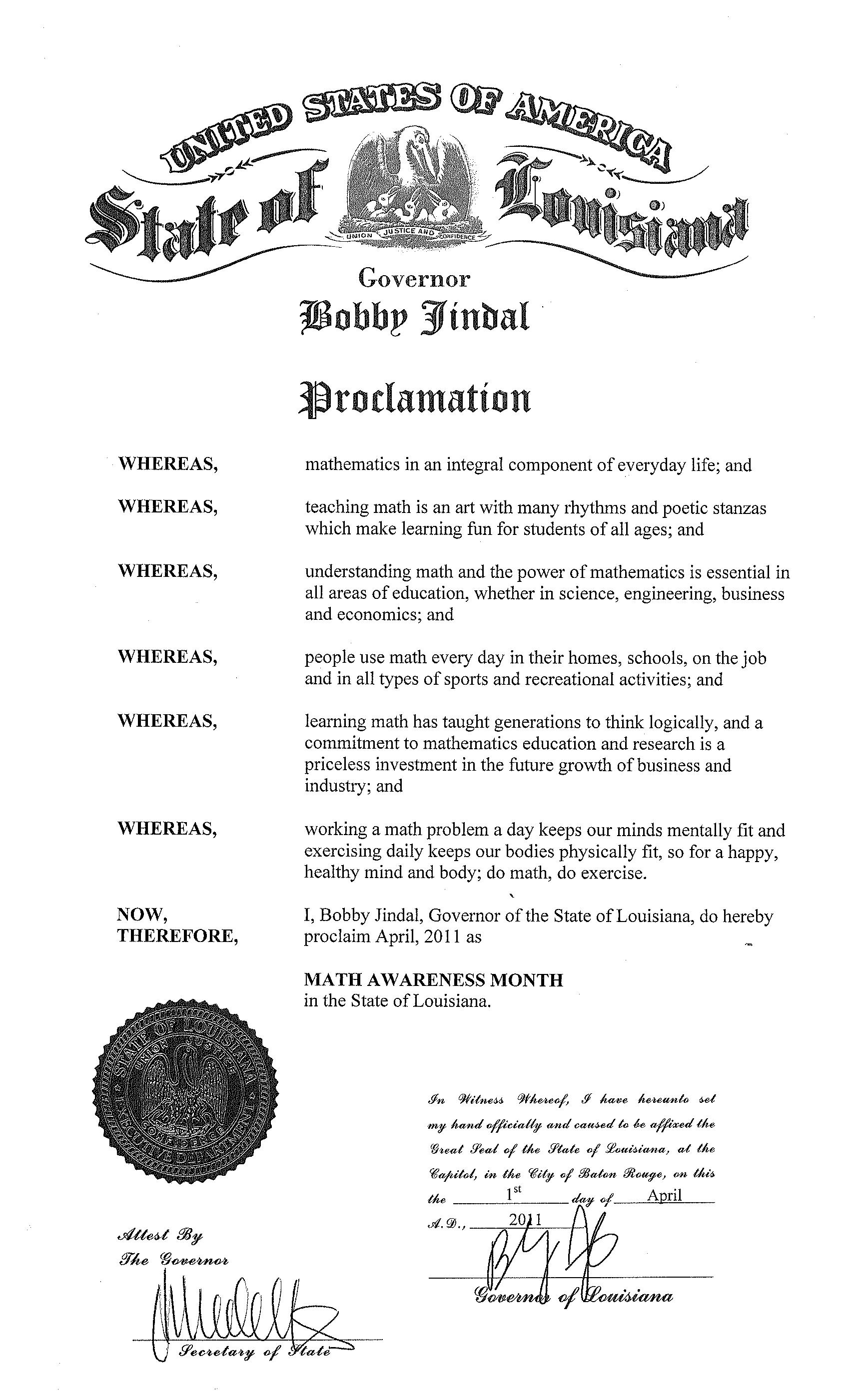 Math Awareness Month Proclamation