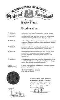 Math Awareness Month Proclamation